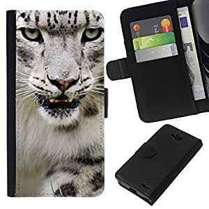 KingStore / Leather Etui en cuir / LG OPTIMUS L90 / Angry Rugido Leopard Snow White Furry
