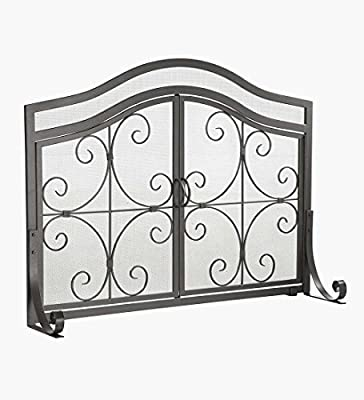 Plow & Hearth Crest Fireplace Screen With Doors