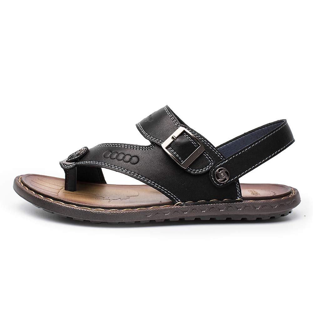 Elibone Plus Size 38-46 Summer Beach Breathable Men Sandals Leather Mens Sandals Outdoor Shoes Slippers,Black,7