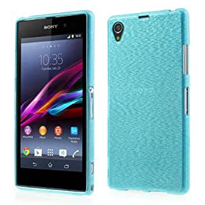 JUJEO Blue Brushed TPU Shell Cover for Sony Xperia Z1 Honami L39h C6902 C6906 - Retail Packaging - Blue