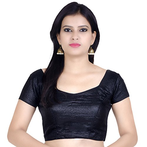 (Chandrakala Women's Designer Bollywood Readymade Black Saree Blouse Padded Brocade Choli-Medium (B106BLA3))