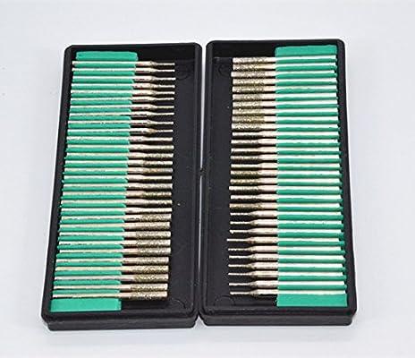 2mm 20 pcs 3mm 20pcs Diamond Drill Bit Cylindrical Burr Kit Jewelry Beach Sea Glass Shells Gemstones Lapidary 60pcs. Shenglong 1mm 20pcs