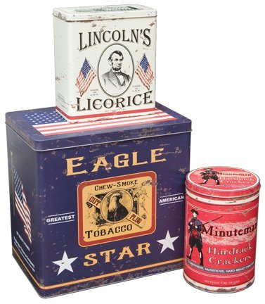 (Vintage Look Canisters 3pc Americana Advertising Tins)