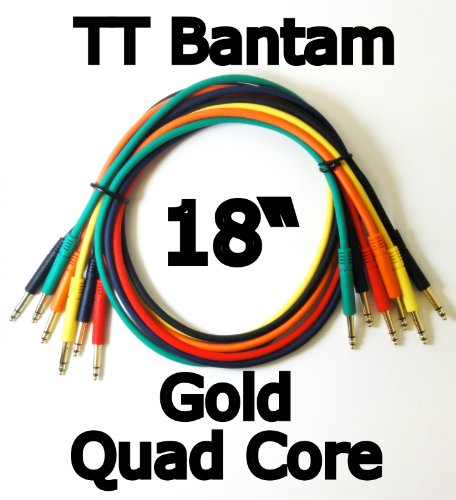 JDS Audio TT Bantam 1.5 Foot Gold Plated Quad Core Patch Cables (Pack of 6) Multi-Color 18