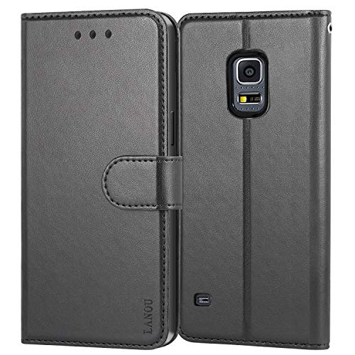 Galaxy S5 Case, LANOU Leather Case Samsung Galaxy S5 Wallet Cover Protective Case for Samsung S5 (Black) (Purse Case For Samsung Galaxy S5)