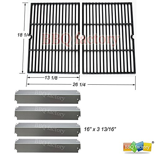 Porcelain Plate Coated Heat Steel (bbq factory® Replacement Charbroil Gas Grill Rebuild Kit and Porcelain Coated Cast Iron Cooking Grill Grates and Stainless Steel Heat Plates)