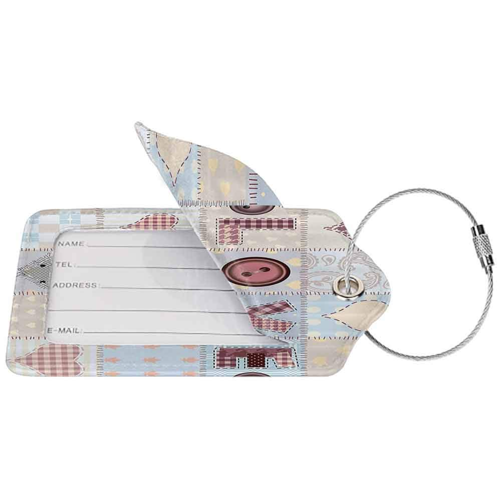 Soft luggage tag Farmhouse Decor Love Lettering Generated with Diverse Retro Repeat Figures Pieced Artwork Bendable Blue Pink W2.7 x L4.6