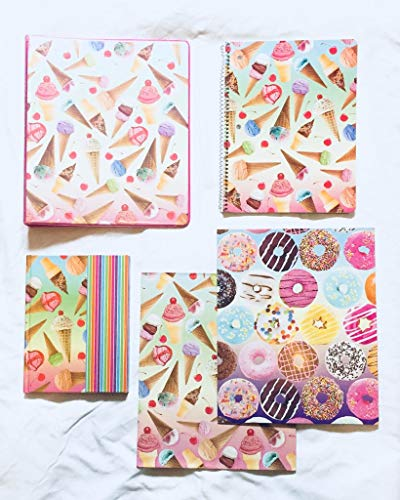 School Supplies- Ice Cream Folder, Personal Journal, 1'' 3 Ring Binder Plus Additional Donut Folder- Pack of 5 by hunted treasures