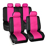 FH GROUP PU023115 Synthetic Leather Seat Covers, Airbag & Split Ready, Pink / Black Color- Fit Most Car, Truck, Suv, or Van