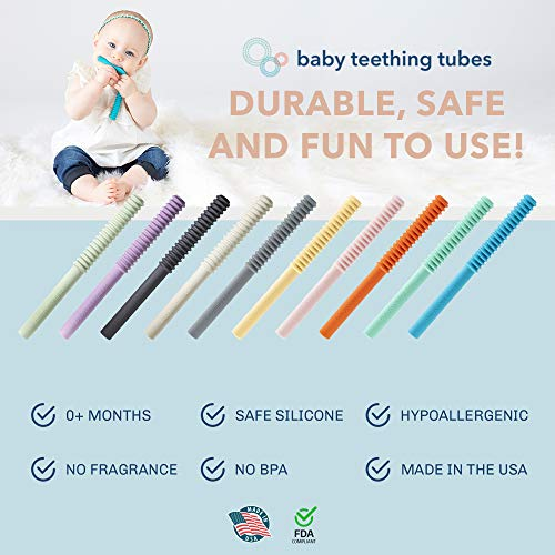 Baby Teething Tubes Made in The USA - Soft Silicone Teething Baby Toy for Babies 0+ Months - 7 inches Long - Helps Soothe Teething Irritation - Durable, Safe Silicone - Hypoallergenic - Easy to Clean