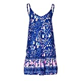 Xiaojmake Women's Sleeveless Floral Print Empire Waist Backless Flowy Boho Mini Tank Dress Blue