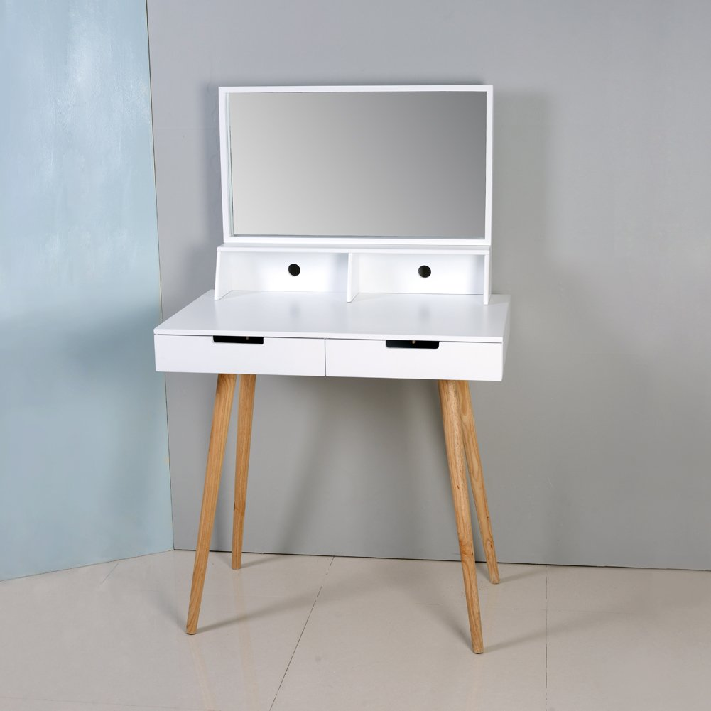 ViscoLogic Vogue Makeup Vanity Dressing Table with Removable Mirror