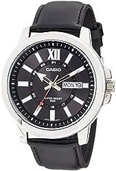Casio MTP-X100L-1AV Men's Black Leather Watch, Day/Date (Large)