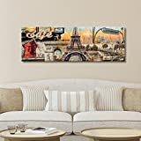 Unframed Modern Collage Painting Poster Print On Canvas Paris Cityscape Home Wall Artwork Large Size For Living Room Office 11.8x35.4 inch