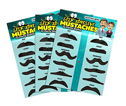 [Allures & Illusions Fake Mustaches - 36 Costume & Party Mustaches] (Fake Mustache Kit)