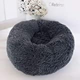 feelingood Pet Dog Cat Calming Bed Round Nest Warm Soft Plush Comfortable for Sleeping Winter (70CM, Dark Gray)