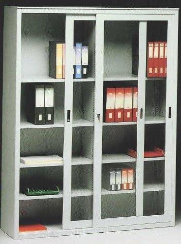 Idea Armarios metálicos para Oficina Armario metálico Puertas correderas de Cristal Transparente cm. 180 Lungh. X 45 Prof. X 200 H: Amazon.es: Hogar