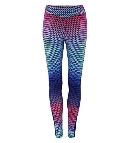 HARRYSTORE Mujer pantalones impresos de yoga Mujer pantalones deportivos y elásticos Pantalones ajustados de fitness Leggings