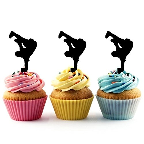TA0253 Hip Hop Dancing Silhouette Party Wedding Birthday Acrylic Cupcake Toppers Decor 10 pcs by jjphonecase