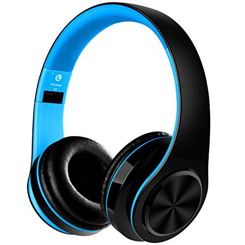 LIFEON Stereo Wireless Bluetooth Headphone with Microphone - Blue Blocking App Light
