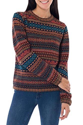 NOVICA Multicolor Knitted 100% Alpaca Wool Sweater, Autumn (Medley Treasured)
