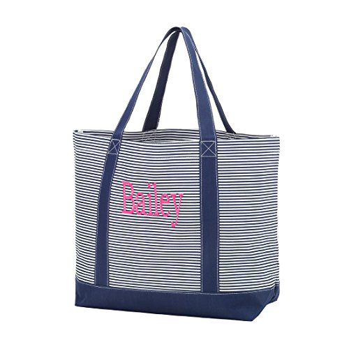 Custom Totes (Custom Personalized Fashion Heavy Duty Canvas Tote Bag (Personalized, Navy Pin Stripe))