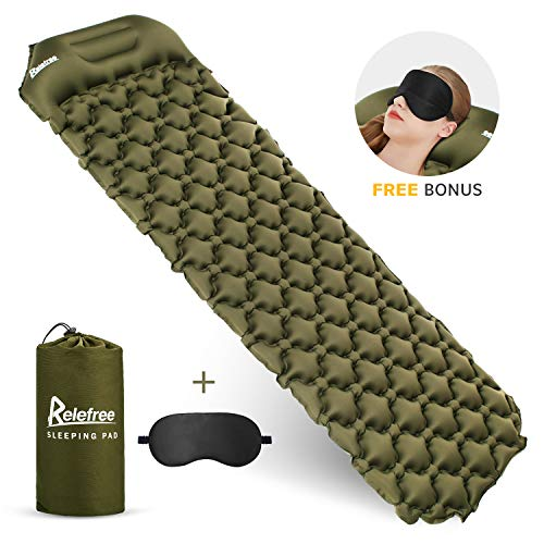 Relefree Inflatable Sleeping Pad Camping Sleeping Air Mat with Pillow Ultralight 1.5lb Comfortable Durable Waterproof Portable for Camping, Traveling and Hiking