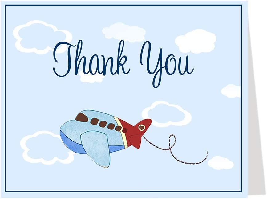 Plane In The Sky Party Thank You Cards