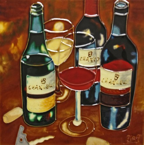 Continental Art Center BD-0572 8 by 8-Inch Three Wine Bottles and Two Wine Glasses Ceramic Art Tile