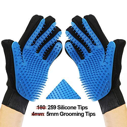 [Upgrade version]Pet Grooming Glove- Efficient Pet Hair Remover gloves- Gentle Deshedding Brush- Massage glove with…