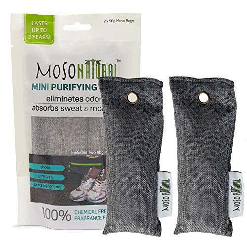 (MOSO NATURAL Mini Air Purifying Bag 2 Pack Bamboo Charcoal Air Freshener, Deodorizer, Odor Eliminator, Odor Absorber for Shoes, Gym Bags and Sports Gear Charcoal Color)