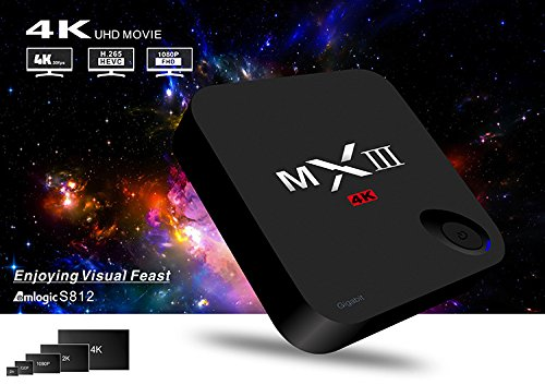 ToFuture MXIII-G 4K Smart TV BOX 2G RAM+16G ROM Android 5.1 TV BOX Streaming Media Player Amlogic S812 Quad Core Pre-installed KODI(XBMC) Ethernet 1000M HEVC H.265 (Quad Channel Ddr3 64gb compare prices)