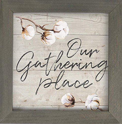(P. GRAHAM DUNN Our Gathering Place Cotton Blossoms 7 x 7 Inch Pine Wood Framed Wall Art Plaque)