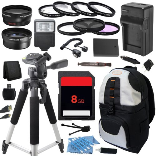 Outdoor Travel Ultimate Accessory Package includes High Capacity DLI109 D-LI109 LI109 Replacement Battery with Car/International Charger + 8GB Memory Card + Deluxe DSLR Digital Camera Backpack + 58mm 0.43x High Definition AF Wide Angle Lens + 2.2x AF Tele by ECD