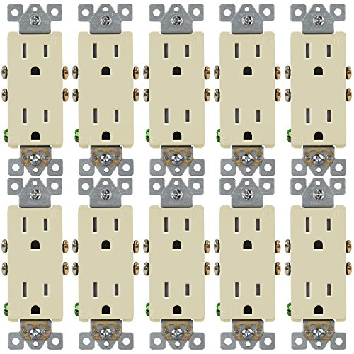 (ENERLITES Decorator Receptacle Outlet, Tamper-Resistant, Residential Grade, 3-Wire, Self-Grounding, 2-Pole, 15A 125V, UL Listed, 61501-TR-I-10PCS, Ivory (10 Pack))