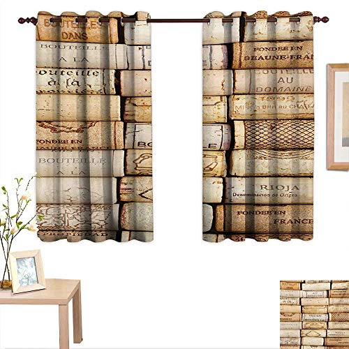 (MartinDecor Winery Thermal Insulating Blackout Curtain Different Wine Corks Arranged in a Line Collections French Aged Fine Wine Art 55