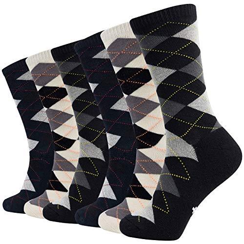 +MD 6 Pack Mens Argyle Dress Socks Moisture Wicking Bamboo Socks Cushioned Crew Socks 2Black/2White/2Navy 10-13