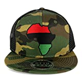 Red Black Green Africa Map Embroidered Patch Camo Flat Bill Snapback Mesh Cap - BLACK