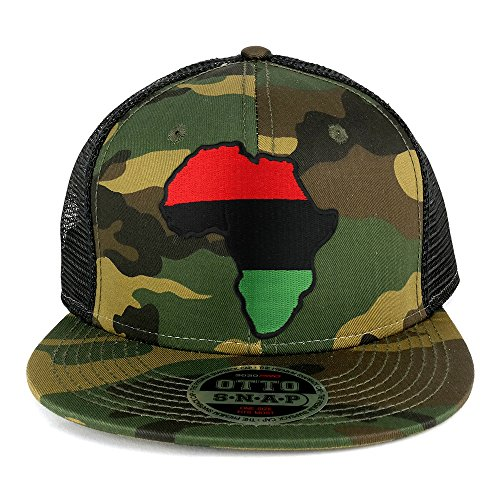 Red Black Green Africa Map Embroidered Patch Camo Flat Bill Snapback Mesh Cap - BLACK by Armycrew