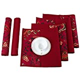 Indian Home Decor Dining Room Reversible Printed Cotton Placemats Set of 12 ; 13x19 Inches