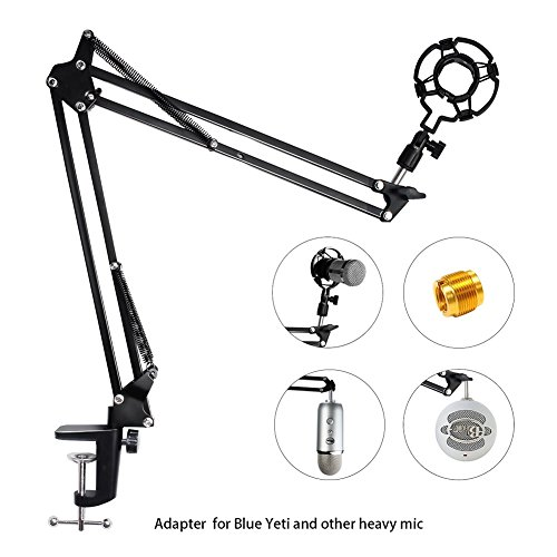 Upgraded Adjustable Microphone Suspension Boom Scissor Arm Stand with Shock Mount Mic Clip Holder 3/8'' to 5/8'' Screw Adapter -for Blue Yeti, Snowball & Other Microphones (stand with adapter) - Image 9