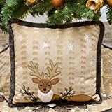 Valery Madelyn Woodland Christmas Pillow Covers with Reindeer and Faux Fur, 16x16 Inch, Themed with Tree Skirt (Not Included)