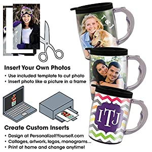 PixMug with Handle - 6 Pack - Photo Mug – The Mug That's A Picture Frame - DIY - Insert Your own Photos or Designs – 15 oz with Spill Proof top