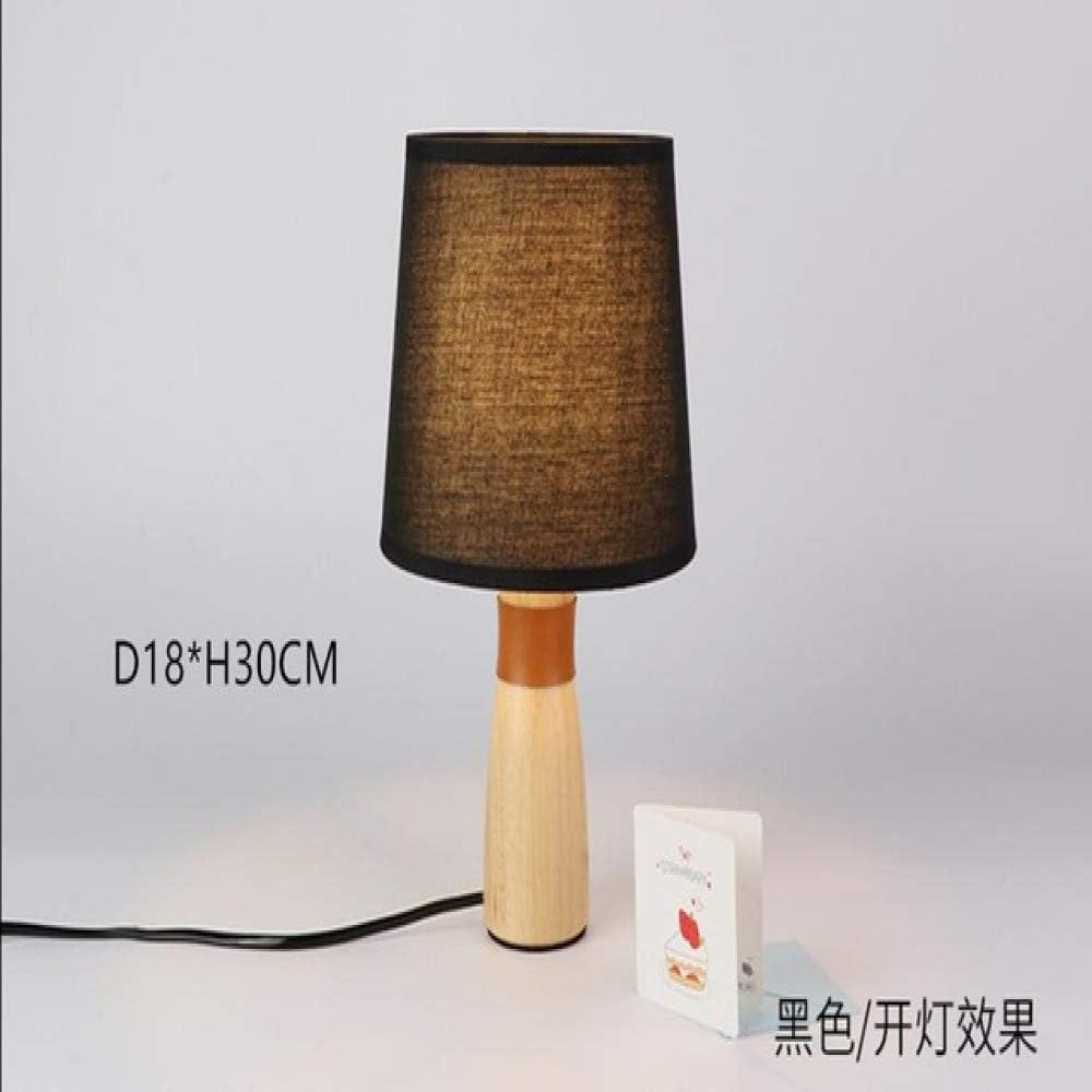 lámpara de mesa de madera E27 pequeña con base de madera pantalla de tela lámpara de lectura en blanco o negro en AliExpress: Amazon.es: Iluminación