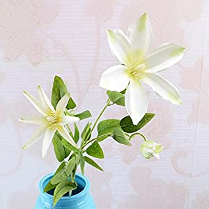 Artificial Flower,1 Piece 3 Heads Wedding Home Office Decor Simulation Arrangement Fake Clematis Flowers YUIOP 90