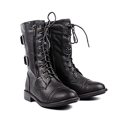 Amazon.com | Fashion Buckle Lace up Womens Combat Military