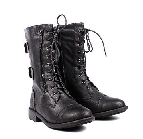 Lace Faux Shoes up Mid Boots Fashion Calf Military Buckle Leather Boots Black Womens Combat Womens Zip Winter F5nSq
