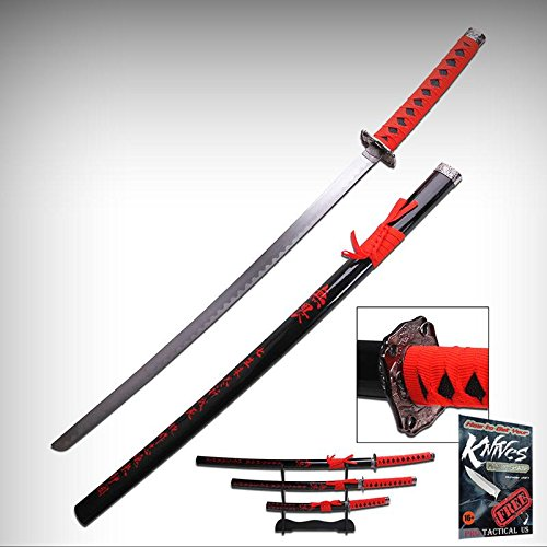 JAPANESE SAMURAI SWORD KATANA Black Red Carbon Steel 3 Pc. Set + Wood Stand + free eBook by ProTactical'US by new