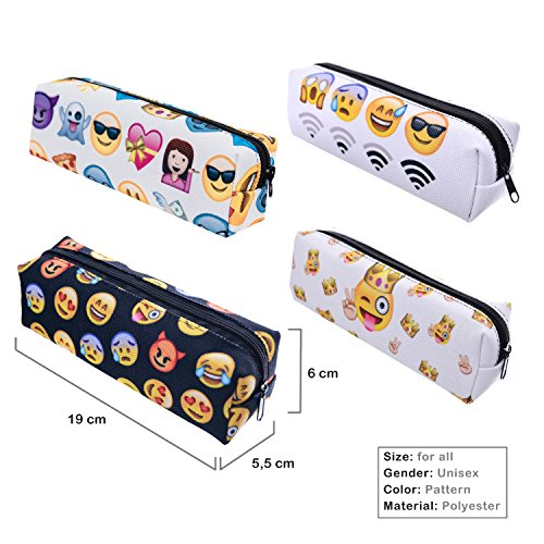 Price comparison product image KooJoee Emoji Pen Pencil Case With Zipper for Kids / Girls / School Students / Teenagers(Pake of 4 Pieces)