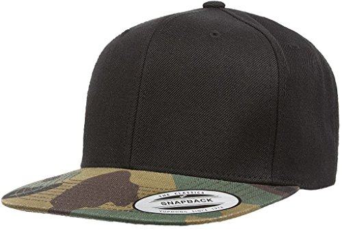Flexfit Classic Wool Snapback with Green Undervisor Yupoong 6089 M/T (Black/Camo) ()